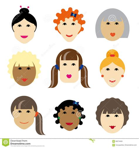 flat face hairstyle set face women stock vector image of icons beautiful