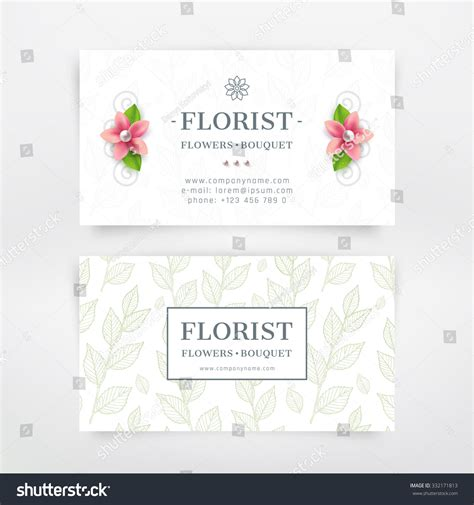 Florist Business Card Design Flower Branch Stock Vector 332171813 Shutterstock Flower Business Card Template