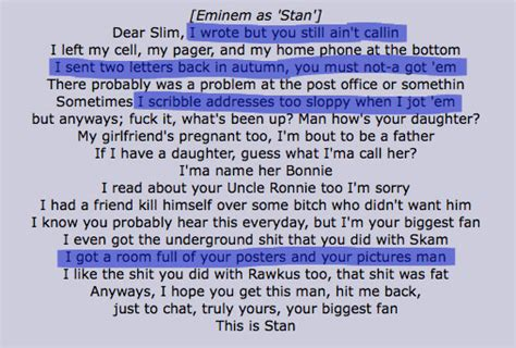 eminem stan lyrics paige french year 13 media textual analysis of music videos