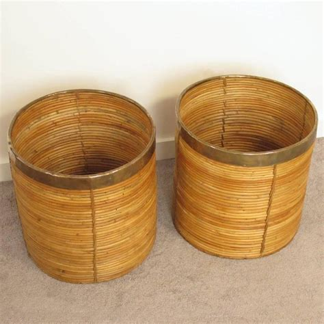 pair of decorative mid century brass and rattan bamboo
