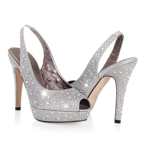 high heel peep toe rhinestones silver prom dresses shoes