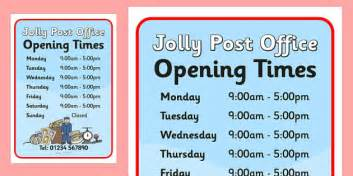 jolly post office role play opening times to support
