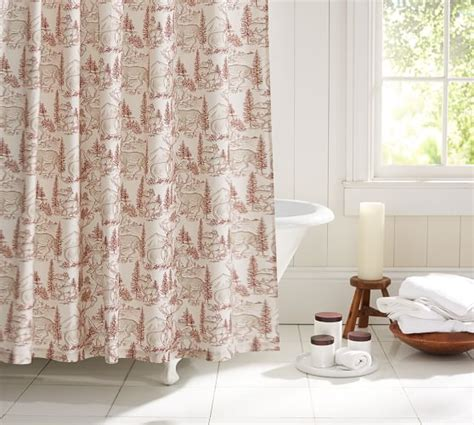 reindeer shower curtain reindeer shower curtain pottery barn