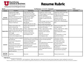 Resume Rubric High School by Resume Rubric