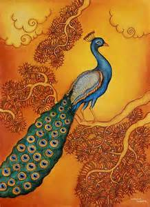 Kerala Mural Painting Peacock Outline by Peacock At Sunset Signed Painting From India Sunset Novica
