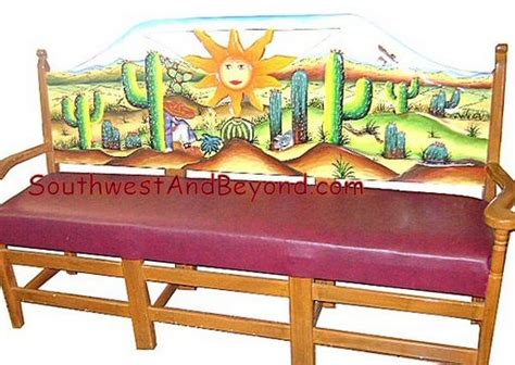 hand painted bench carved hand painted mexican benches