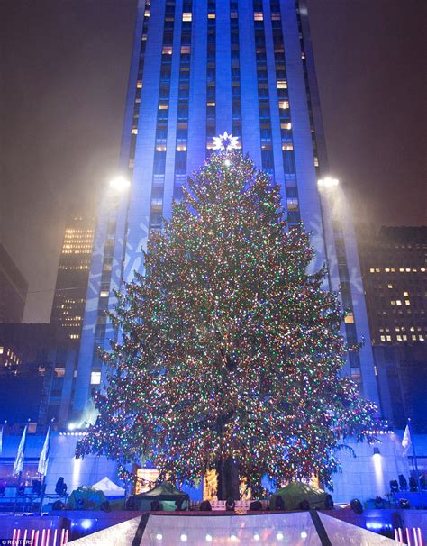 how many lights on christmas tree rockefeller tree lights up and officially kicks the season daily mail