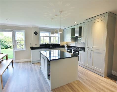 brownsgunner property services kitchens supplied and installed partridge grey painted shaker kitchen with island and 3