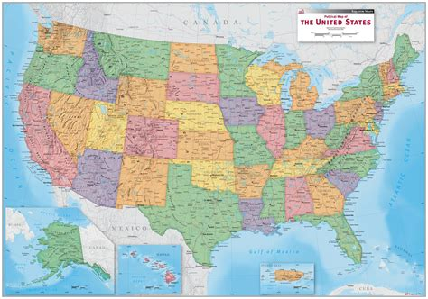 the map usa political wall map maps