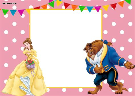 Free Printable Disney Beauty And The Beast Invitation Disney Templates Free