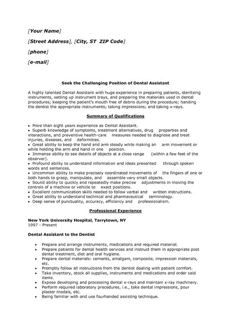 sle of a dental assistant resume entry level 42 free