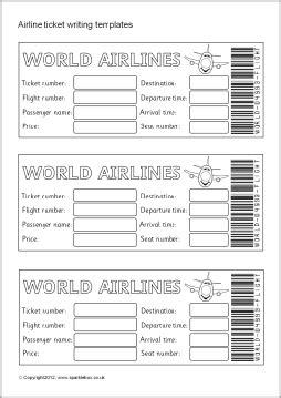 Airline Ticket Boarding Pass Writing Templates Sb7770 Sparklebox Plane Ticket Template