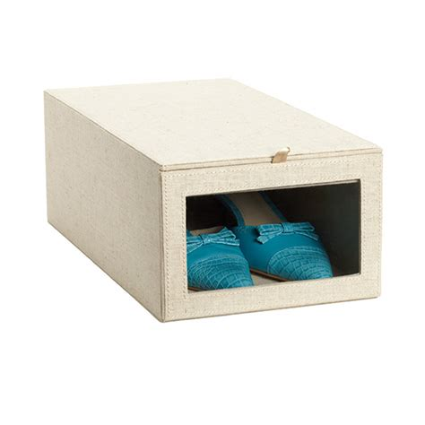 shoe boxes for storage linen drop front shoe box the container store