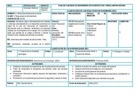 plan de cuidado de enfermeria para hipertension plan en preecl severa