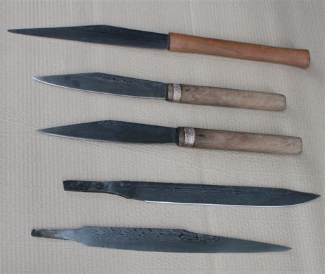 Damascus Steel Kitchen Knives forging the patternwelded seax owen bush