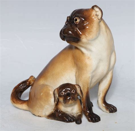 early pugs early 1800s meissen porcelain of pug and puppy modeled after j j kandler at