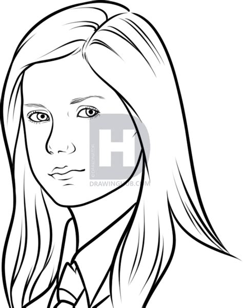 W Drawing Picture by How To Draw Ginny Weasley Step By Step Drawing Guide By
