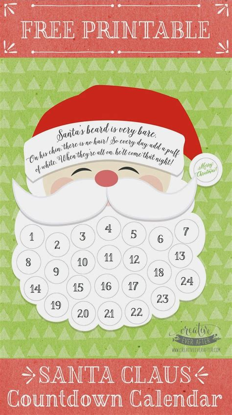 printable santa claus advent calendar free printable santa claus beard countdown calendar