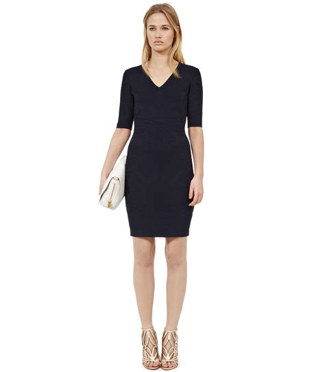 v neck knitted dress reiss bunny textured knit v neck dress in blue lyst