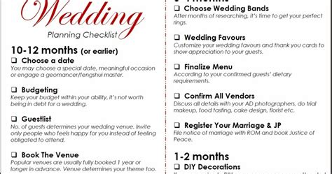 Wedding Checklist Singapore by Wedding Planner Wedding Planner Checklist Singapore