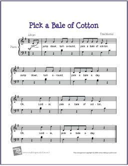 picking sheet pick a bale of cotton free sheet music for easy piano