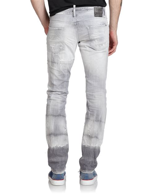Distressed Washed Slim Fit lyst dsquared 178 washed distressed slim fit in