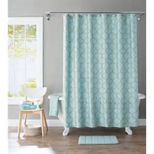 blue bathroom curtains better homes and gardens scalloped trellis embroidered