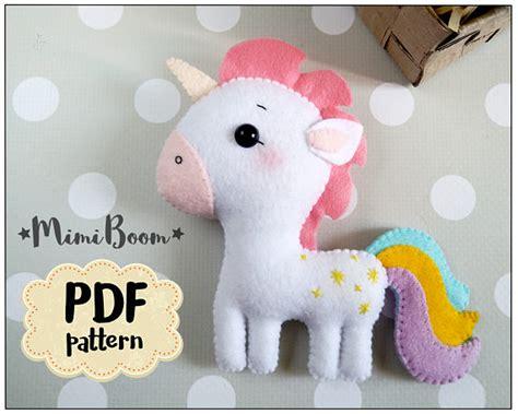 felt pattern unicorn felt unicorn pattern pdf tutorial unicorn plush sewing