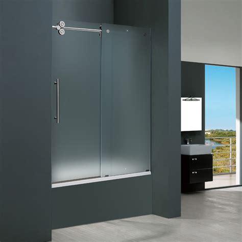 Three Door Shower Doors Vigo 60 Inch Frameless Tub Door 3 8 Quot Frosted Chrome Hardware Left Product