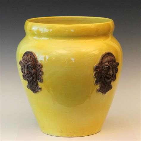 Large Yellow Ceramic Planters by Large Yellow Italian Zaccagnini Pottery Mask