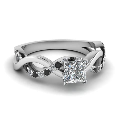 princess cut black side engagement rings
