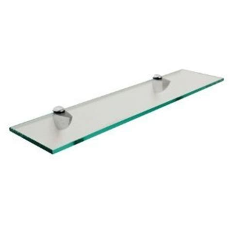 rectangle floating glass shelf 6 x 24 with brush nickel