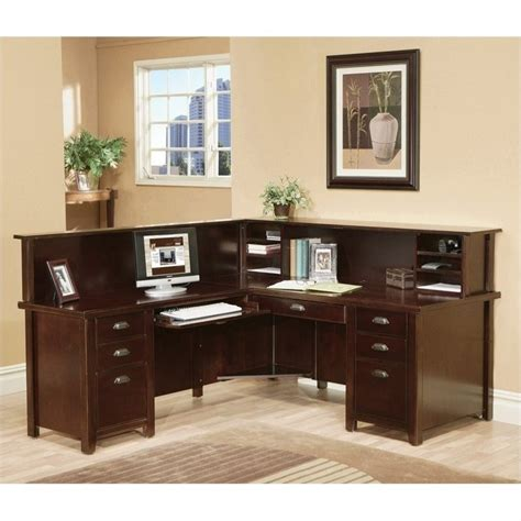 Reception Desks Ireland Kathy Ireland Home By Martin Tribeca Loft Cherry Lhf L Shaped Executive Desk With Reception