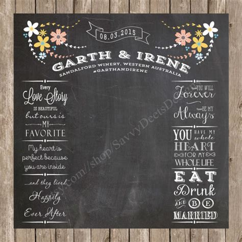 Wedding Backdrop Design Template by Wedding Photo Backdrop Chalkboard Printable Complete Custom