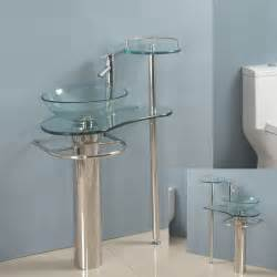 Glass Sink Vanity Modern Bathroom Vanities Pedestal Vessel Glass Furniture