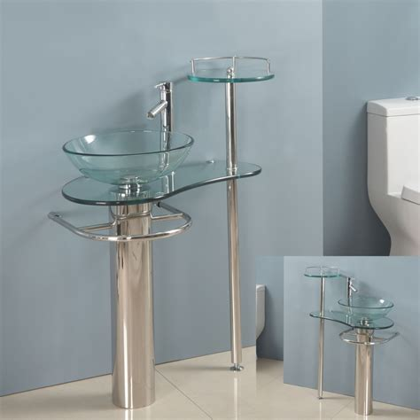 Modern Glass Bathroom Vanities Modern Bathroom Vanities Pedestal Vessel Glass Furniture Sink W Bath Faucet 18 Ebay