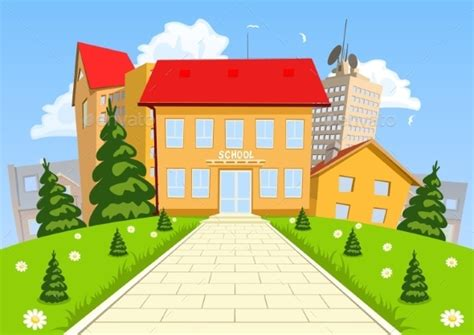 wallpaper cartoon school vector cartoon modern school building by jupea graphicriver