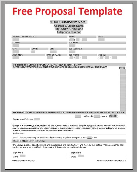 propsal template business letter sle november 2012