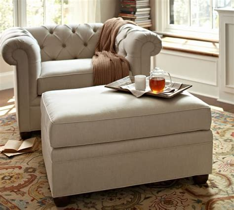 pottery barn tufted ottoman chesterfield upholstered ottoman pottery barn