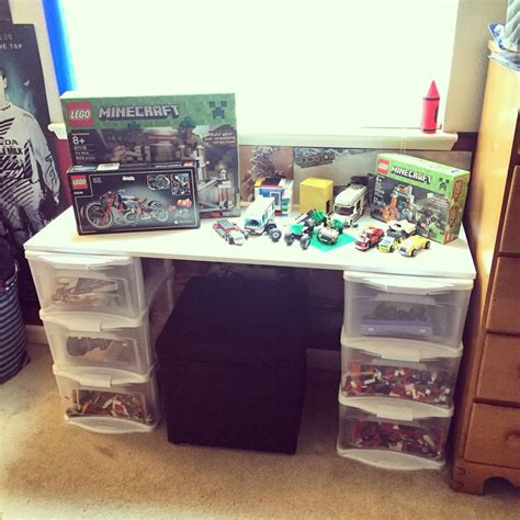 lego table with plastic drawers lego desk table diy about 40 all you need is 2