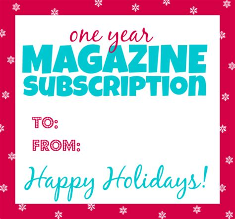 free printable gift tag for magazine subscriptions