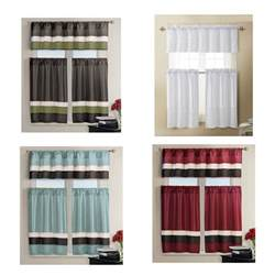 Kitchen Curtain Set Kitchen Window Curtain Set 1 Valance 2 Tiers Burgundy Teal Chocolate White Ebay