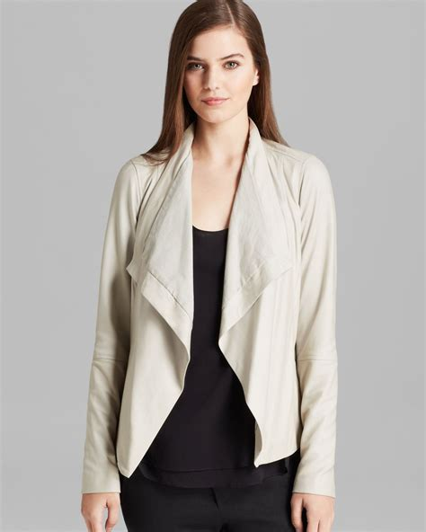 vince draped leather jacket vince paper leather drape jacket in natural lyst