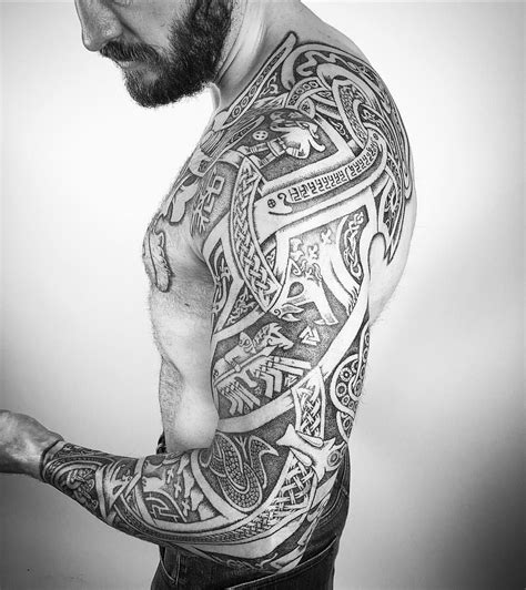 viking tribal tattoos sleeve pin by mateja jankovic on black and gray tattoos