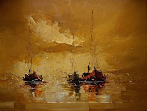 4 Paintings In One by Masterful Textured Paintings Of Ships At Sea My