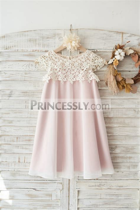 Flower Dresses For Wedding by Boho Lace Cap Sleeves Ivory Chiffon Wedding Flower