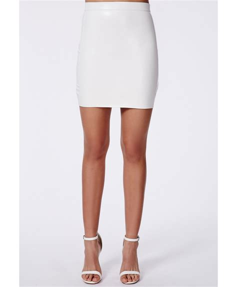 Bodycon Mini Skirt lyst missguided rica faux leather bodycon mini skirt in