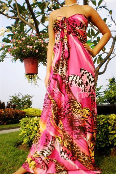 Gamis Jersey Embos Print Fushia fushia and pink print strapless maxi dress