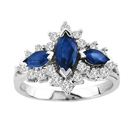Blue Sapphire Ring V marquise cut blue sapphire and 1 2 ct t w three
