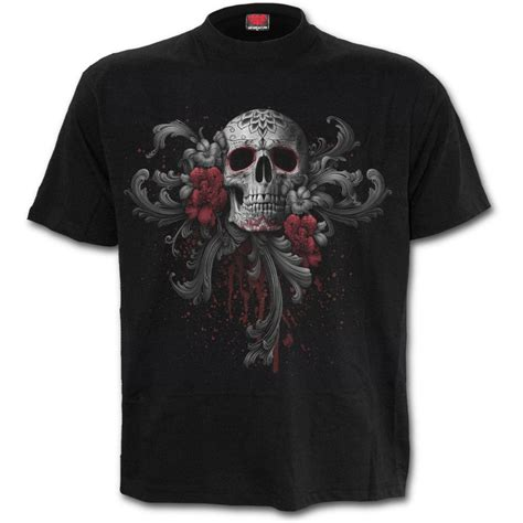 skull tshirt mens mens skull roses t shirt black shop from spiral